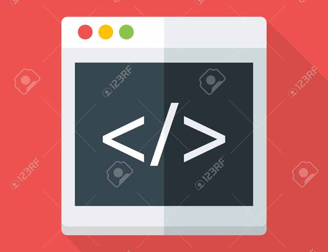 Website coding flat stylized illustration. Flat stylized illustration with long shadow