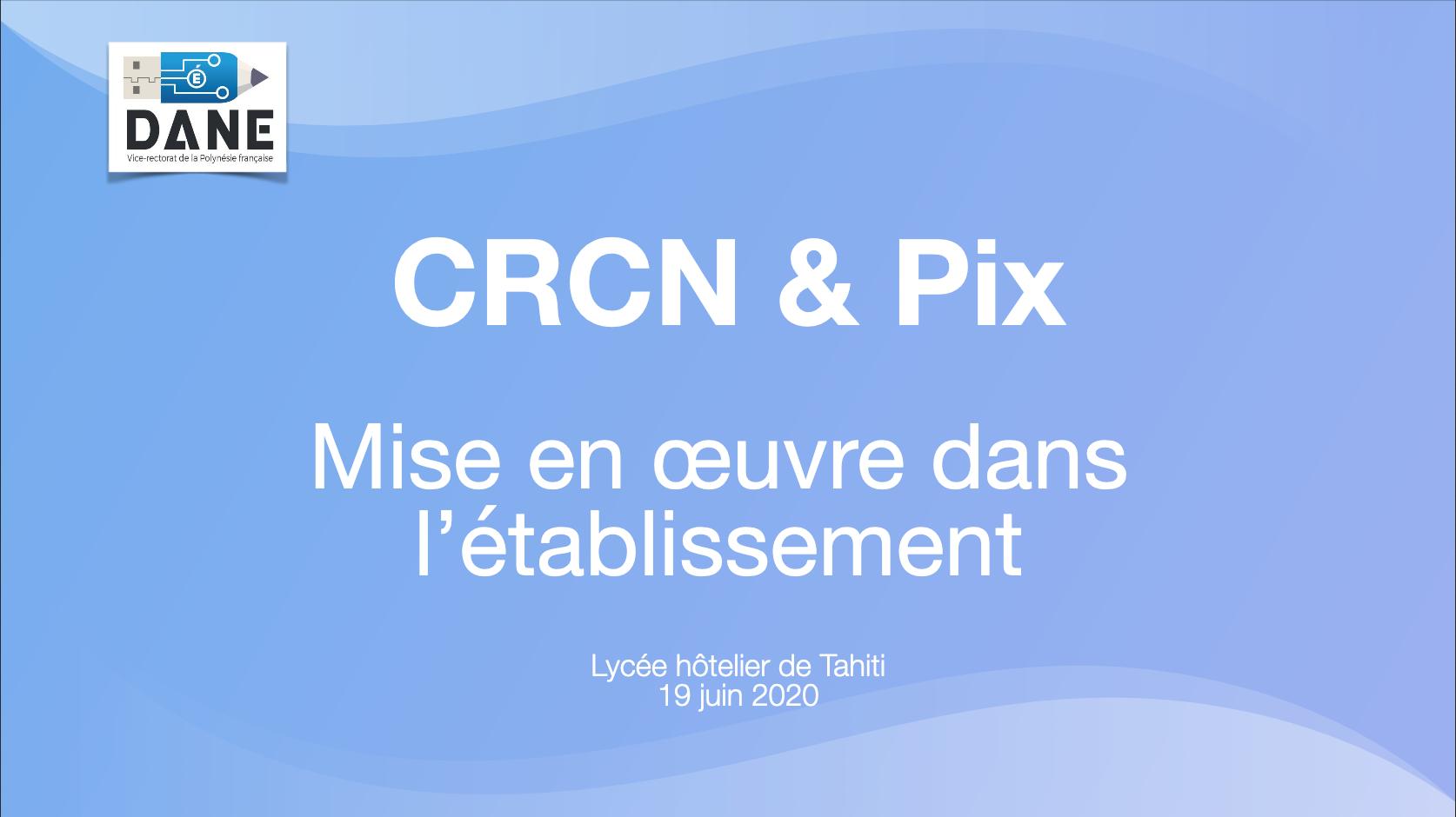CRCN & Pix mise en œuvre dans l'établissement - DANE